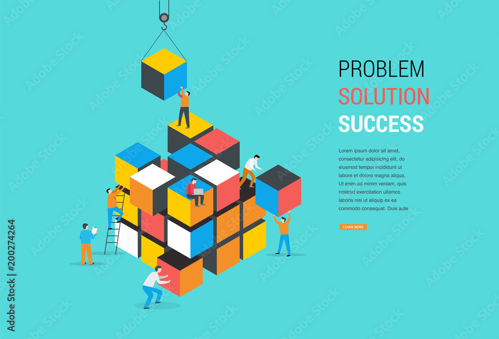 Fototapety, obrazy: Cube Puzzle Solution Solving Problem Concept banner