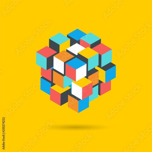 Photo Cube Puzzle Solution Solving Problem Concept banner