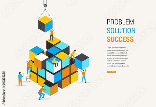 Fotografie, Obraz  Cube Puzzle Solution Solving Problem Concept banner