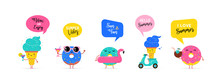 Sweet Summer - Cute Ice Cream, Watermelon And Donuts Characters Make Fun