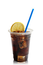 Cola With Lemon In Takeaway Plastic Cup Isolate On White Background With Path.cocktail