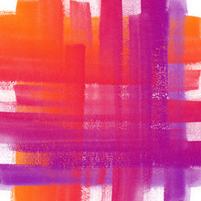 Abstract Plaid Hand Drawn Watercolor Background. Aquarelle Colorful Texture. Orange Pink Ombre Backdrop.