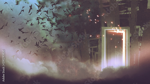 magic door with glowing light in the dark place, digital art style, illustration painting
