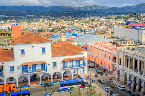 view from the air to the old Cuban city, historic quarters with houses in coloni Canvas Print