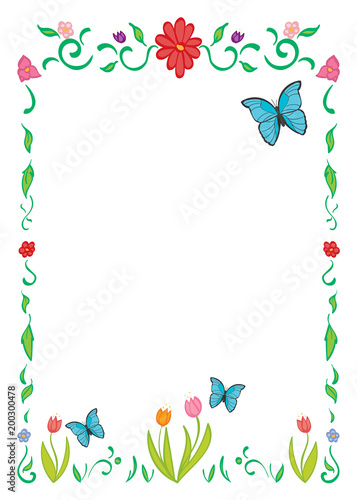 Border Frame Of Spring Flowers And Butterflies Buy This Stock