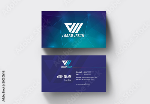 Dark Blue Business Card Layout Buy This Stock Template And Explore
