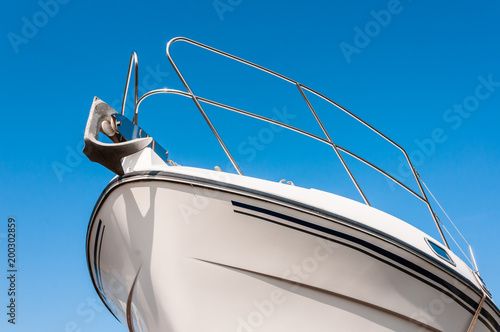 Bow of a boat with an anchor Fotobehang