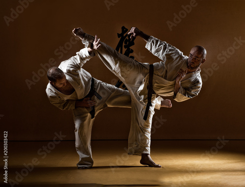 Cuadros en Lienzo Two karate men fighting in a indoor dojo.