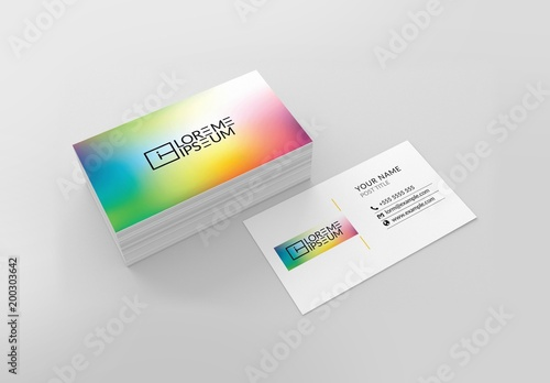 Rainbow Gradient Business Card Layout Buy This Stock Template And