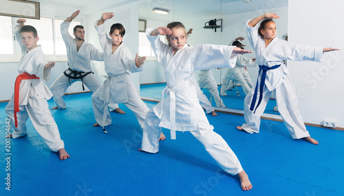 Poster Martial arts Teenagers trying a new moves with master