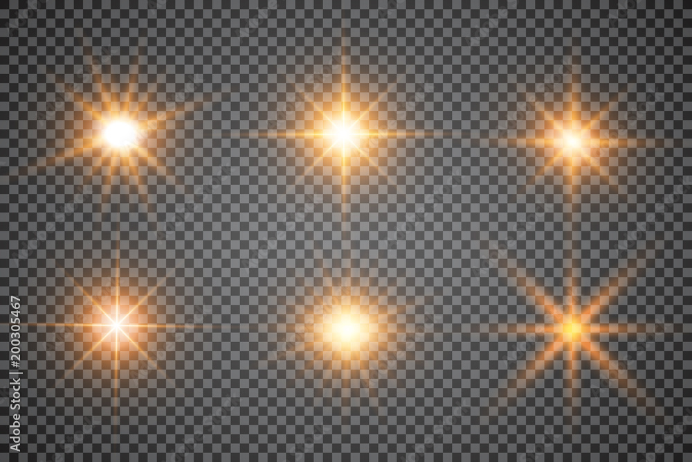 Fototapety, obrazy: Lights sparkles isolated. Vector illustration of glowing lens flares and sparks.