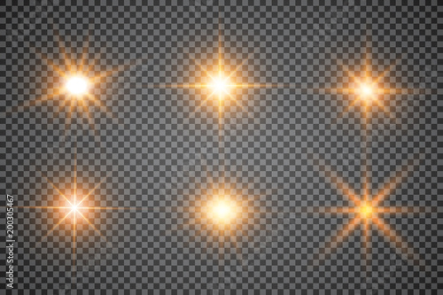 Obraz Lights sparkles isolated. Vector illustration of glowing lens flares and sparks. - fototapety do salonu