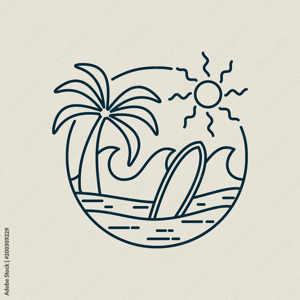Surfer Paradise Beach Stamp In Line Art Style Foto Poster Wandbilder Bei EuroPosters