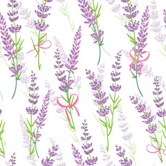 Fototapeta Lawenda Lavender flower bouquets purple vector seamless pattern. Beautiful violet lavender retro background. Elegant fabric on light background Surface pattern design.