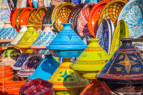 Staande foto Marokko Tajines in the market, Marrakesh,Morocco
