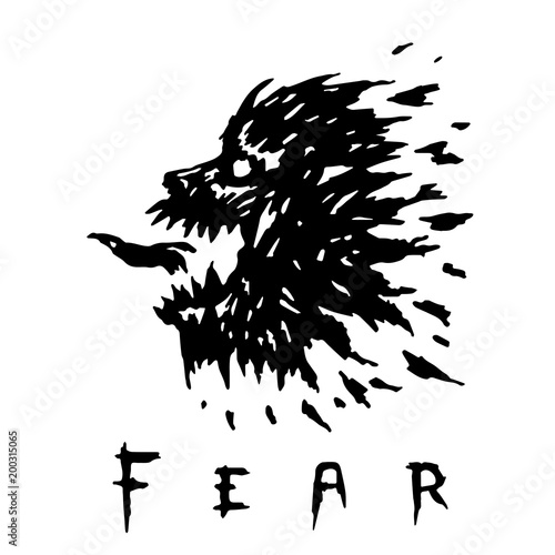 Láminas  Scary werewolf head with mouth open. Vector illustration.
