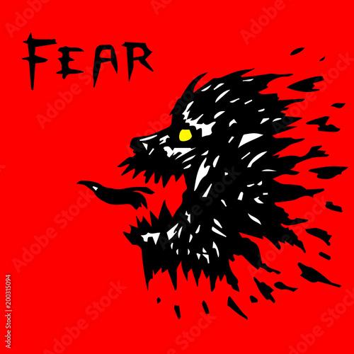 Fotografía  angry werewolf head silhouette. vector illustration