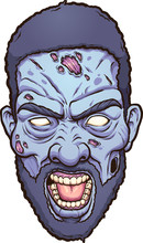 Black Man Angry Zombie Head. Vector Clip Art Illustration With Simple Gradients. All In A Single Layer.
