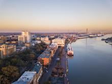 Aerial View Of Downtown Savann...