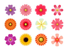 Set Of Flat Icon Flower Icons ...