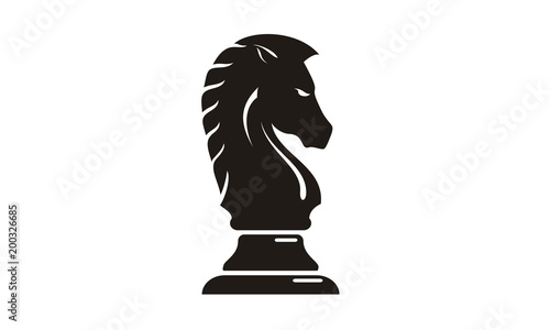 Tableau sur Toile Black Chess Knight Horse silhouette logo design