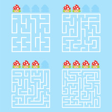 A Square Labyrinth With An Entrance And An Exit. A Set Of Four Options From Simple To Complex. With A Rating Of Cute Cartoon Mushrooms. Vector Illustration Isolated On A Blue Background.
