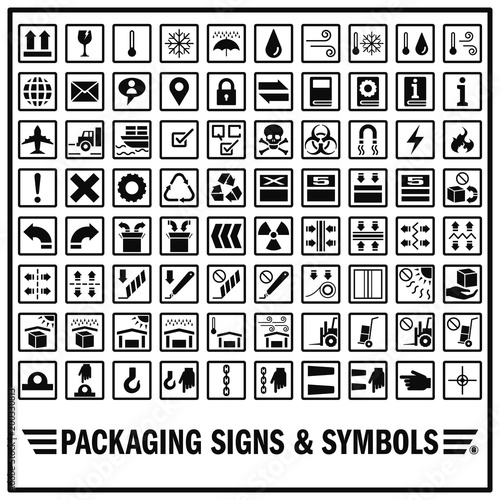 Set Of Packaging Signs And Symbols Use For Warning And Giving