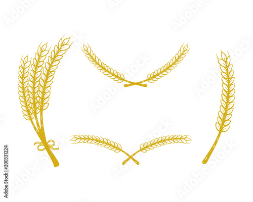 Set Of Wheat Drawing Gold Vector Realistic Laurel Buy This Stock