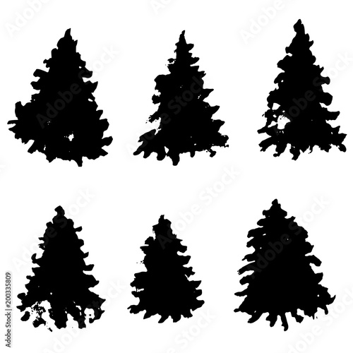 Christmas Trees Silhouette.Set Of Fir Tree Silhouettes Black Grunge Christmas Trees