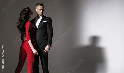 Staande foto Artist KB Portrait of an elegant couple - isolated