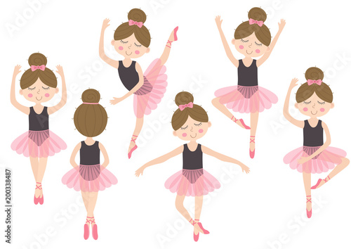 Photographie set of isolated cute ballerina girl - vector illustration, eps