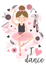 Poster With Cute Ballerina Gir...