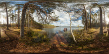 Lake In The Forest With A Bench. Full 360 Degree Panorama