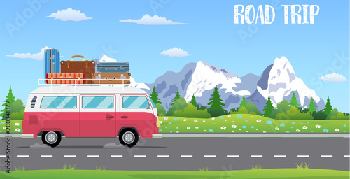 Photo sur Aluminium Cartoon voitures web banner on the theme of Road trip,
