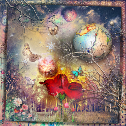 Papiers peints Imagination The secret kingdom. Fairy and enchanted forest with red hibiscus, fantastic flowers and butterflies