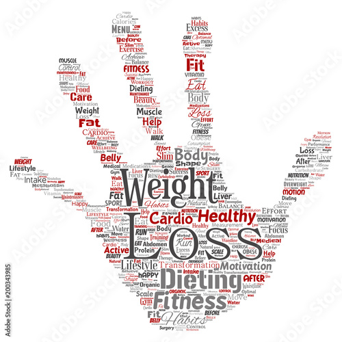 Vector Conceptual Weight Loss Healthy Diet Transformation Hand Print Stamp Word Cloud Isolated Background Collage Of Fitness Motivation Lifestyle Before And After Workout Slim Body Beauty Concept Wall Mural High Resolution