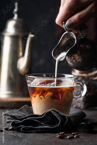 Szklana filiżanka kawy