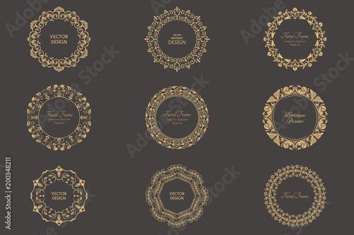 Valokuva  Set of circular baroque patterns