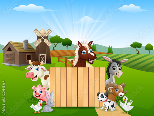 Wall Murals Bears Blank sign and happy farm animals