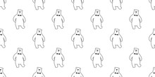 Bear Seamless Pattern Polar Bear Panda Vector Bow Tie Isolated Repeat Background Wallpaper Cartoon Doodle
