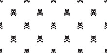 Cat Skull Pirate Seamless Pattern Cross Bone Halloween Isolated Wallpaper Background
