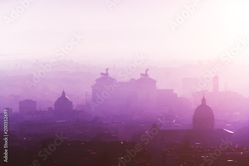 Staande foto India Rome rooftop view at sunrise silhouette with ancient architecture in Italy