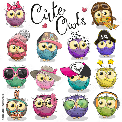 Photo Stands Owls cartoon Cute cartoon owls on a white background