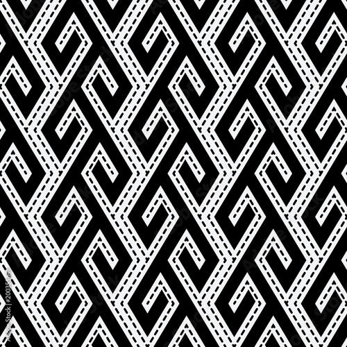 Cotton fabric tribal ethnic monochrome seamless pattern
