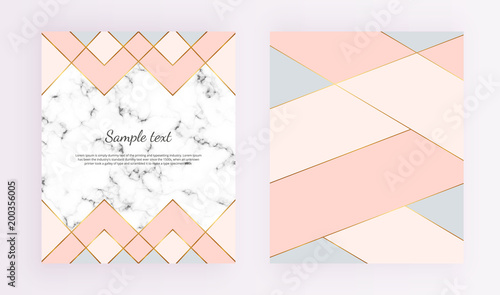Modern geometric designs with marble texture, gold lines, pink, blue colors background. Trendy template for design banner, card, flyer, invitation, party, birthday, wedding, baby shower, placard