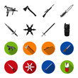 Sword, two-handed sword, gas balloon, shuriken. Weapons set collection icons in black,flet style vector symbol stock illustration web.