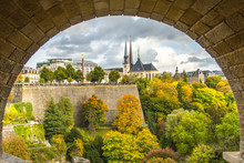 View Of Gelle Fra And Notre Dame Cathedral From Adolphe Bridge In Luxembourg