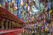 Leinwanddruck Bild - Tibetan buddhist flags and praying wheels in Darjeeling, India
