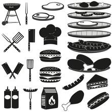 Black White Bbq Outdoors 23 Element Silhouette Set