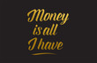 Money is all I have gold word text illustration typography